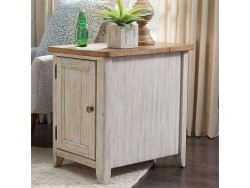 Farmhouse Reimagined Door Chair Side Table w/ Charging Station